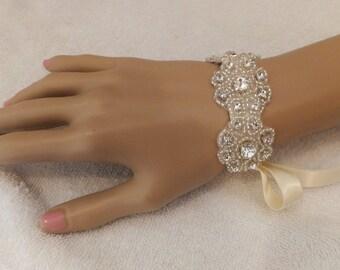 Bridal Rhinestone Bracelet, PRINCESS, Bridal Bracelet, Flower Bracelet
