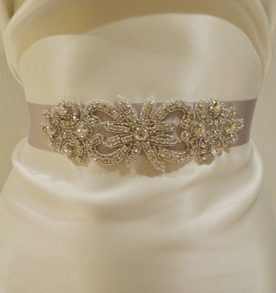 Bridal Rhinestone Sash, BEATRICE, Bridal Belt, Rhinestone Sash, Silver Sash