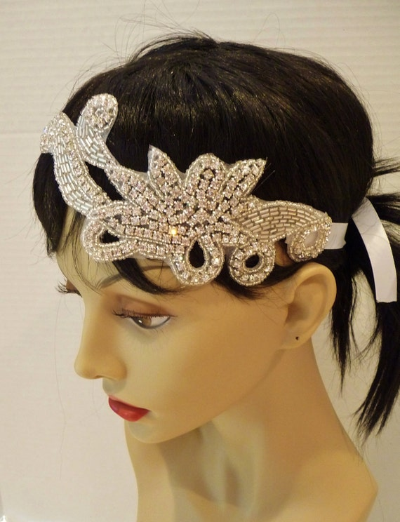 Great Gatsby Bridal Headpiece, Bridal Headband, ROMANCE, Bridal Headpiece, Rhinestone Headpiece, Bridal Headband