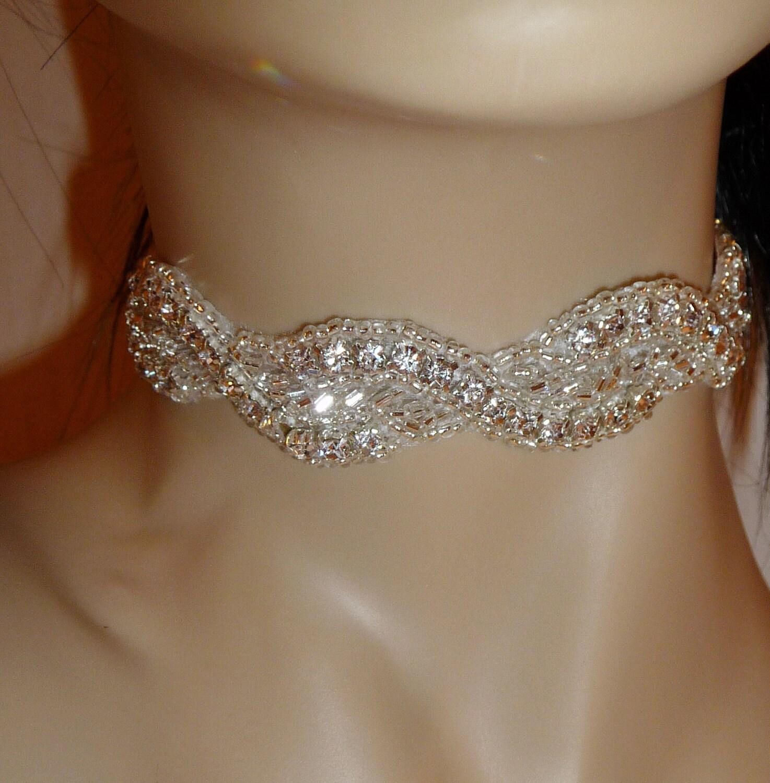 Choker Necklace Etsy: Bridal Rhinestone Necklace Choker Crystal Necklace Bridal
