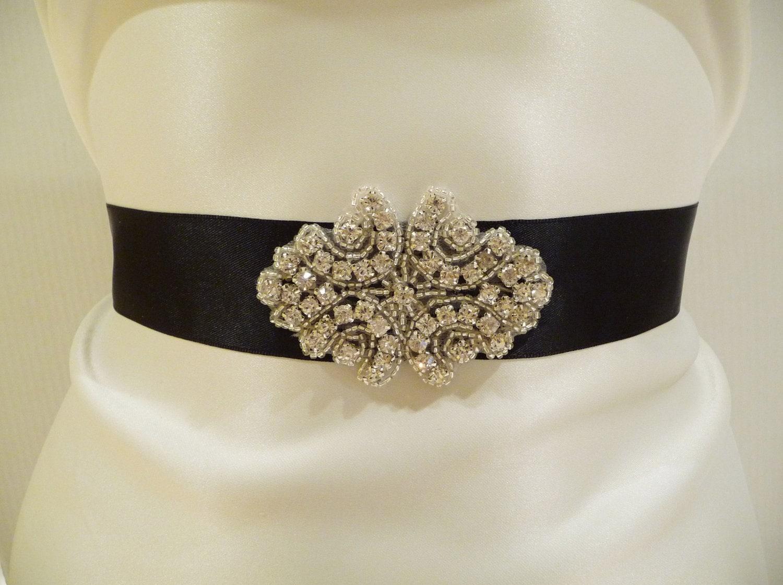 Black Rhinestone Embedded Sashes Bridal Satin