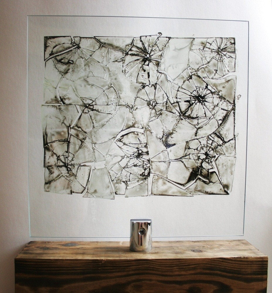 how to make broken glass art on canvas