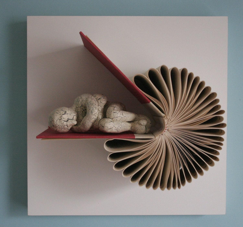 Sleeper on book birdie original sculpture