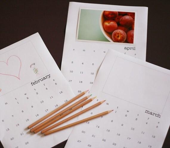 Diy Calendar Size : Diy printable calendar us letter size by limelane on etsy