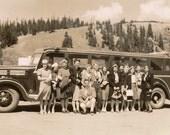 The Tour Gang - 1941 Bus Tour vintage snapshot photo - Home Decor