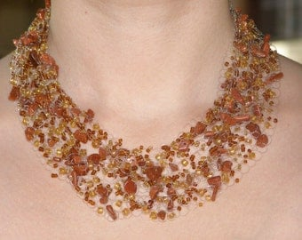 Gorgeous, delicate brown necklace with aventurine stone