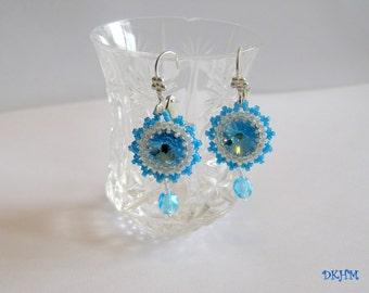 Aqua blue Swarovski rivoli earrings