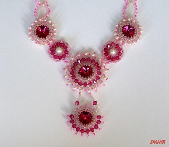 Swarovski fuchsia and freshwater pearls set,OOAK
