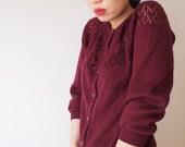 Wine-colour cardigan // gilet couleur vin