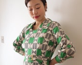 HOLD for Jen - Vintage japanese dress with geometrical pattern, small - medium