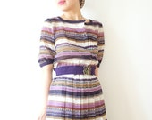 Vintage dress with violet, umber and sienna stripes, small, Japan