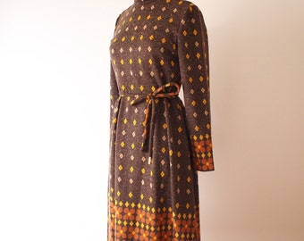 Vintage brown flower dress, XS, Japan