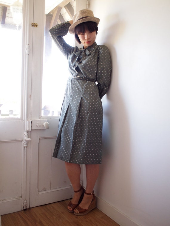 HOLD - FREE DRESS for Laura - Vintage olive polka dot dress, small, Japanese