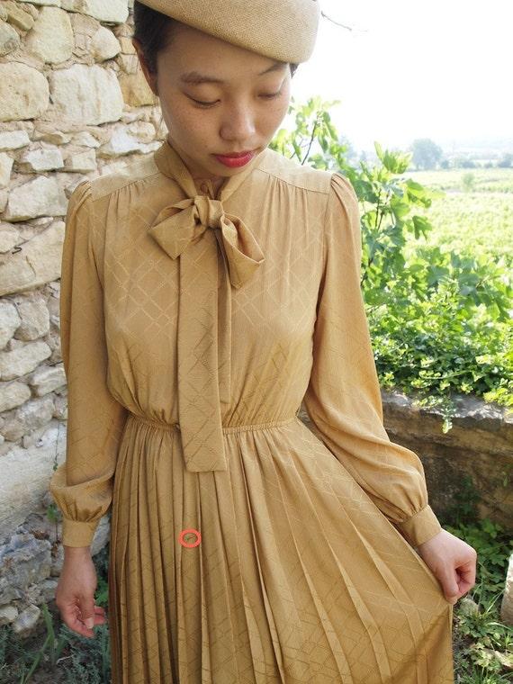 Vintage mustard dress, xs -small, Japan