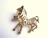 Vintage Signed Sarah Coventry Zebra Pin