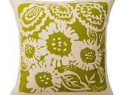 Floral pillow, 20 inch, sunflower, ARIA Pillow, Vintage Green