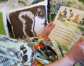 "Squirrel 10"" pillow Silk Screened Cotton Bark Cloth"