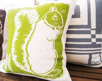 Decortaive Pillow, Green Squirrel, 20x20 inch Hand Screened On Cotton Bark Cloth