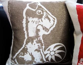 Decorative Pillow, Cushion, Brown, Dog Design, Cotton Bark Cloth, 10x10, Silk Screened