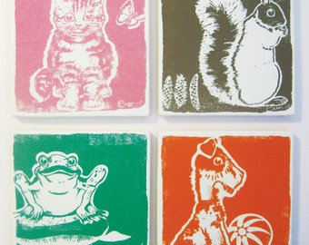 Wall Art, Set of 4 - 9 inch Framed Bark Cloth Silk Screened Prints - Dog, Cat, Frog, Squirrel, trees- YOU PICK