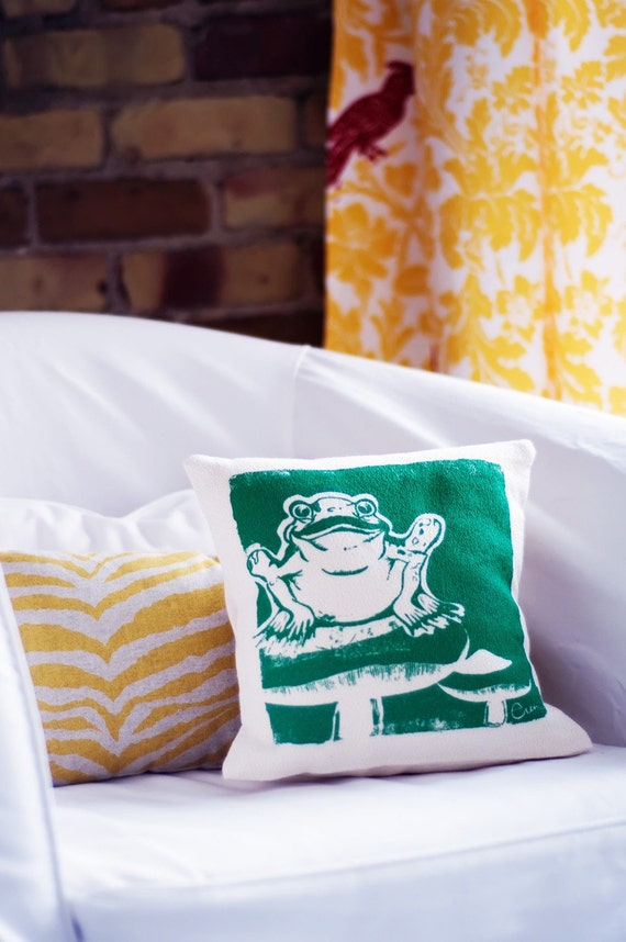 Decorative Pillow,Teal, Froggie, Cotton Bark Cloth, 10x10 inch, Hand Screened