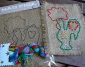 Burlap Embroidery kit, Kid craft kit, learn how to embroider with four Portuguese animals, gift for child (boys and girls), Portugal rooster