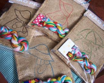 Burlap Embroidery kit - Sunbonnet Sue patterns