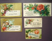 5 Victorian Trade Cards with Flowers, Antique,