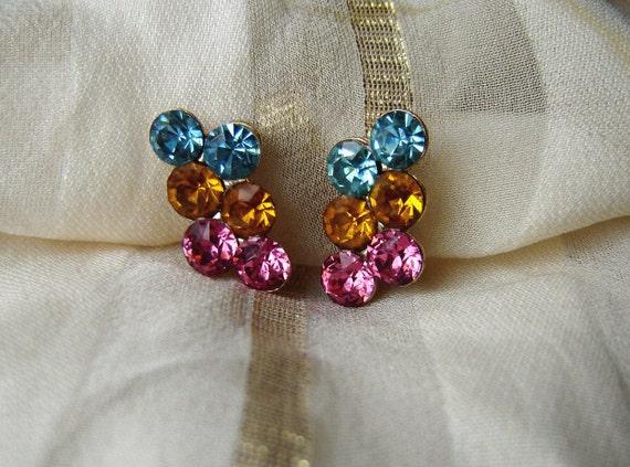 1960s Rhinestone Earrings, Pink, Yellow, Blue, Screwback