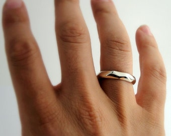 Wedding band, 14k White Gold, unisex ring, polished texture