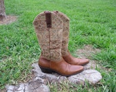 Vintage Woven Tapestry and Leather Cowboy Boots Sz. 6