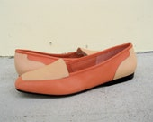 Vintage Coral and Pastel Peach Leather Loafers Sz. 9M //  40