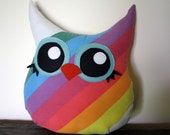 large owl pillow, eco friendly, handmade