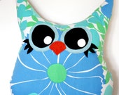 owl pillow plush, stuffed owl, owl decor, handmade- vintage fabric- eco friendly