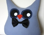 handmade owl pillow plush in blue with bowtie/ boy