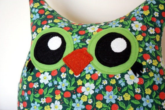 handmade owl pillow, vintage, eco friendly, FREE USA SHIPPING