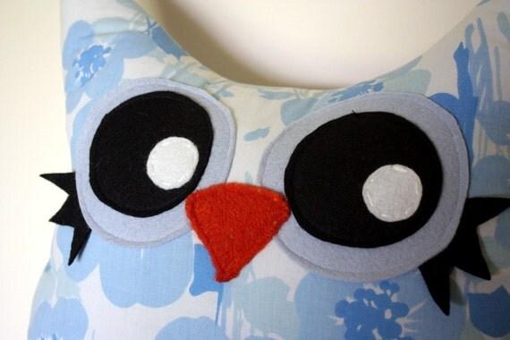 SALE, handmade stuffed owl pillow plush in blue flowers- vintage fabric