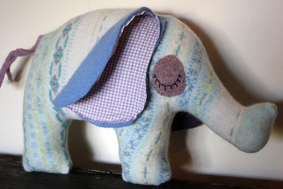 handmade elephant stuffed animal, plush, pillow