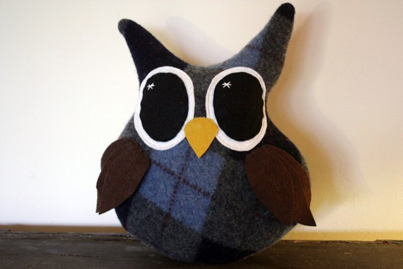 handmade owl pillow, stuffed animal, upcycled and eco friendly