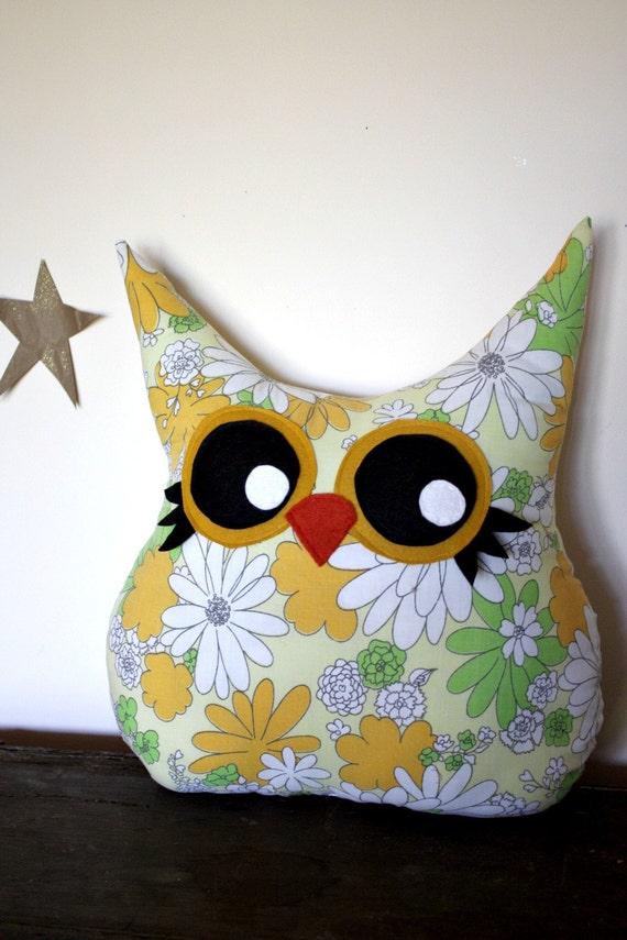 owl pillow plush, toy, eco friendly stuffed animal