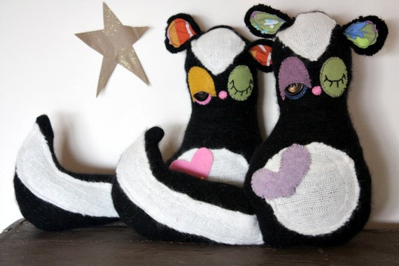 skunk stuffed animal plush, skunk plush, skunk softie, handmade/ eco friendly