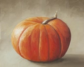 Oil Painting, still life, pumpkin 1 8x8 inches