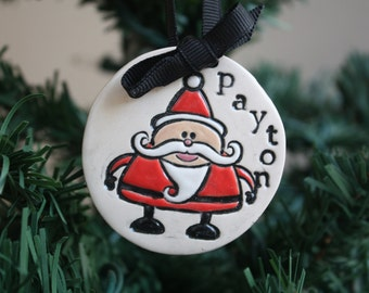 Personalized Christmas Santa Ornament---Made to Order