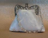 Bridal bag embroidered, beaded on silver filigree frame