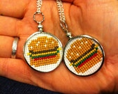 Silver Cross Stitched Burger Necklace