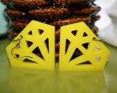 Yellow Plexiglass Diamond Earrings