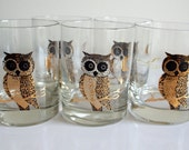 Five Vintage Gold Owl Moon Highball Glasses