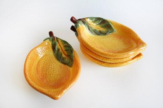 Four Vintage Yellow Lemon Ceramic Spoon Holders