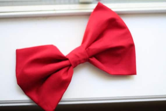 little red riding hood red big bow hair clip.