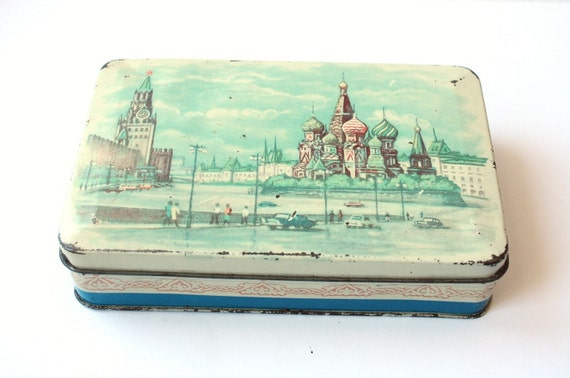 Vintage tin box from Russia Soviet Union 50s